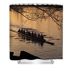 Eight Man Crew Rowing Along Montlake Cut  Shower Curtain