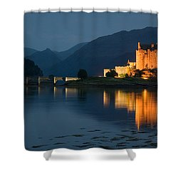 Eilean Donan Castle At Night Shower Curtain by Jeremy Voisey