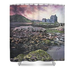 Shower Curtain featuring the painting Eilean Donan Castle Scotland by Jean Walker