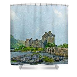 Eilean Donan Castle Textured 2 Shower Curtain