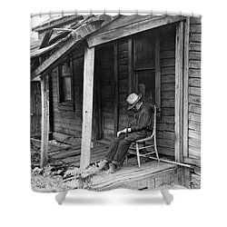 Elderly Man Doses On His Porch Shower Curtain by Underwood Archives