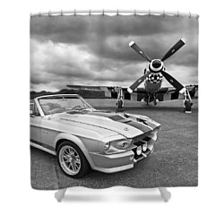 Eleanor Mustang With P51 Black And White Shower Curtain by Gill Billington