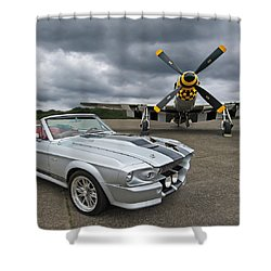 Eleanor Mustang With P51 Shower Curtain by Gill Billington