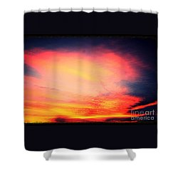 Shower Curtain featuring the photograph Electric Angel Playing A Harp In The Sky  by Kimberlee Baxter