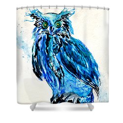 Electric Blue Owl Shower Curtain by Beverley Harper Tinsley
