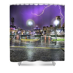 Electric Detroit  Shower Curtain by Nicholas  Grunas