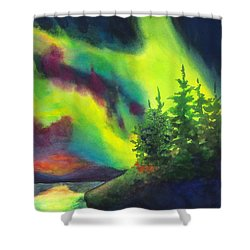 Electric Green In The Sky 2 Shower Curtain