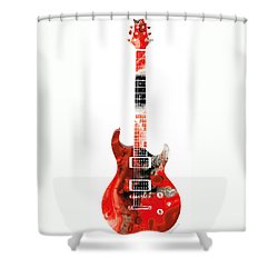 Electric Guitar - Buy Colorful Abstract Musical Instrument Shower Curtain by Sharon Cummings