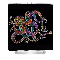 Electric Octopus On Black Shower Curtain by Tammy Wetzel