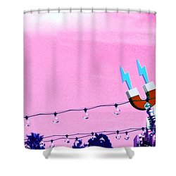 Electric Pink Shower Curtain by Valerie Reeves