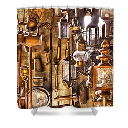Electrician - Let There Be Light Shower Curtain by Mike Savad