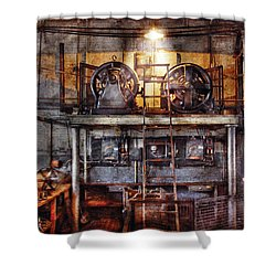 Electrician - Turbine Station Shower Curtain by Mike Savad