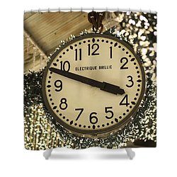 Electrique Brillie Clock In Chelsea Market Shower Curtain by Rona Black