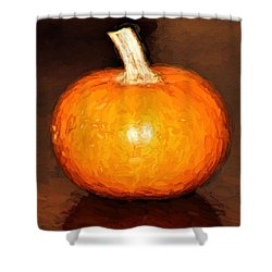 Elegant Autumn Orange Pumpkin Rustic Table Painting Shower Curtain by Tracie Kaska