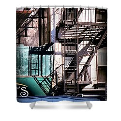 Elemental City - Fire Escape Graffiti Brownstone Shower Curtain by Miriam Danar