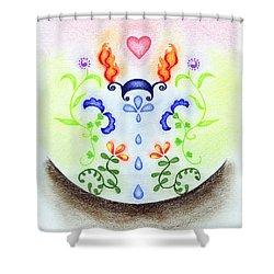 Elements Shower Curtain by Keiko Katsuta