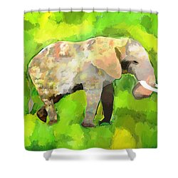 Shower Curtain featuring the painting Elephant 4 by Jeanne Fischer