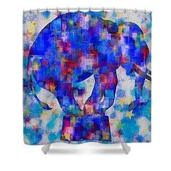 Elephant Blues Shower Curtain by Jack Zulli