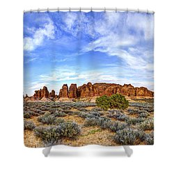 Elephant Butte Shower Curtain by Chad Dutson