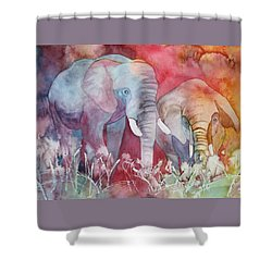 Shower Curtain featuring the painting Elephant Duo by Nancy Jolley