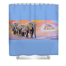 Shower Curtain featuring the painting Elephant Fantasy Must Open by Phyllis Kaltenbach