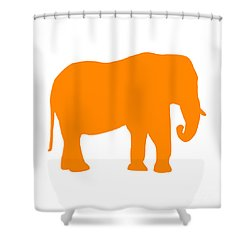 Elephant In Orange And White Shower Curtain