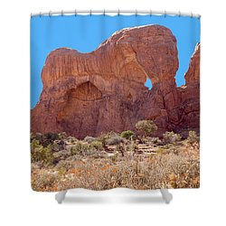 Shower Curtain featuring the photograph Elephant In The Rock by John M Bailey