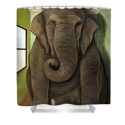 Elephant In The Room Wip Shower Curtain by Leah Saulnier The Painting Maniac
