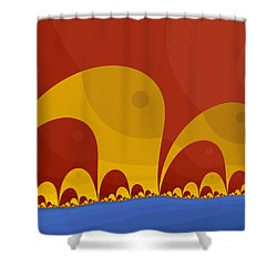 Shower Curtain featuring the digital art Elephant Lake by Mark Greenberg