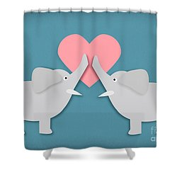 Elephant Love Shower Curtain by Sharon Dominick