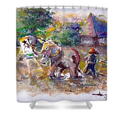Shower Curtain featuring the painting Elephant Painting by Bernadette Krupa