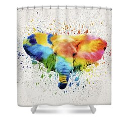 Elephant Splash Shower Curtain by Aged Pixel