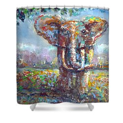 Shower Curtain featuring the painting Elephant Thirst by Bernadette Krupa