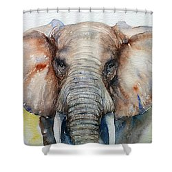 Elephant_chestnut Brown Shower Curtain