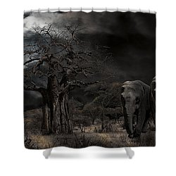 Elephants Of The Serengeti Shower Curtain by Daniel Hagerman