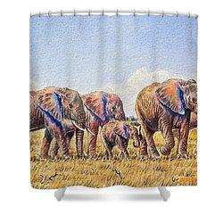 Elephants Walking Shower Curtain