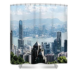 Elevated View Of Skylines, Hong Kong Shower Curtain by Panoramic Images