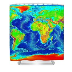 Elevation Map Of The World Shower Curtain by Sebastian Musial