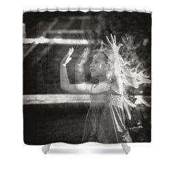 Elevator Prozac Shower Curtain by Taylan Apukovska