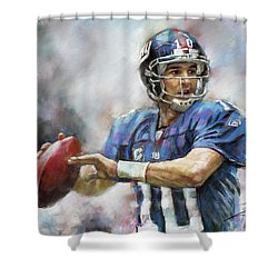 Shower Curtain featuring the drawing Eli Manning Nfl Ny Giants  by Viola El