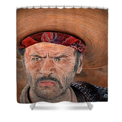 Eli Wallach As Tuco In The Good The Bad And The Ugly Version II Shower Curtain by Jim Fitzpatrick