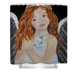 Eliana Little Angel Of Answered Prayers Shower Curtain by The Art With A Heart By Charlotte Phillips