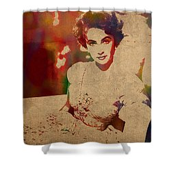 Elizabeth Taylor Watercolor Portrait On Worn Distressed Canvas Shower Curtain by Design Turnpike