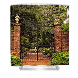 Elizabethan Gardens Shower Curtain by Lydia Holly