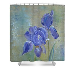 Shower Curtain featuring the painting Elizabeth's Irises by Judith Rhue