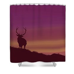 Shower Curtain featuring the digital art Elk At Dusk by Terry Frederick