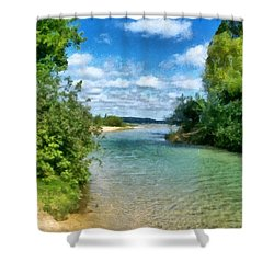 Elk River- Elk Rapids Michigan Shower Curtain by Michelle Calkins