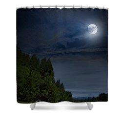 Elk Under A Full Moon Shower Curtain