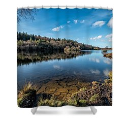 Elsi Reservoir Shower Curtain by Adrian Evans