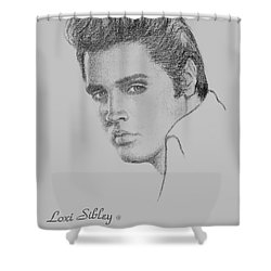 Elvis In Charcoal Shower Curtain